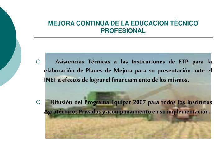 MEJORA CONTINUA DE LA EDUCACION TÉCNICO  PROFESIONAL