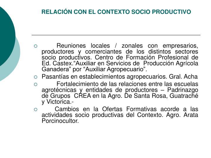 RELACIÓN CON EL CONTEXTO SOCIO PRODUCTIVO
