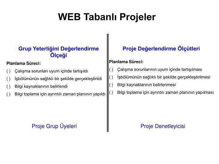 WEB Tabanlı Projeler
