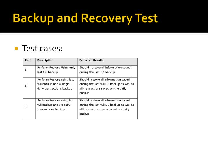 Backup and Recovery Test
