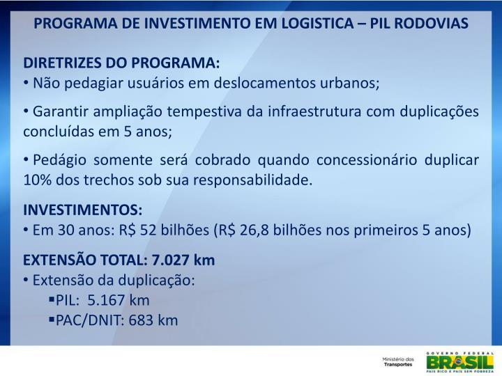 PROGRAMA DE INVESTIMENTO EM LOGISTICA – PIL RODOVIAS