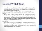 dealing with fitnah