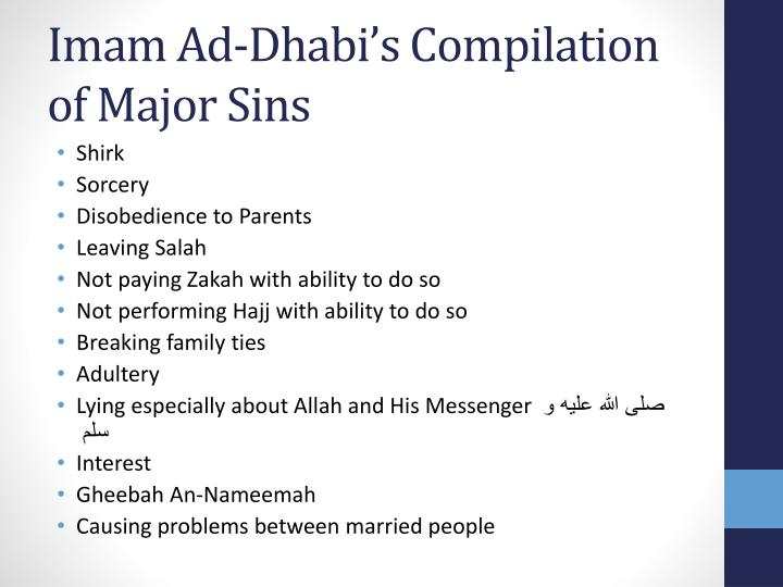 Imam Ad-Dhabi's Compilation of Major Sins