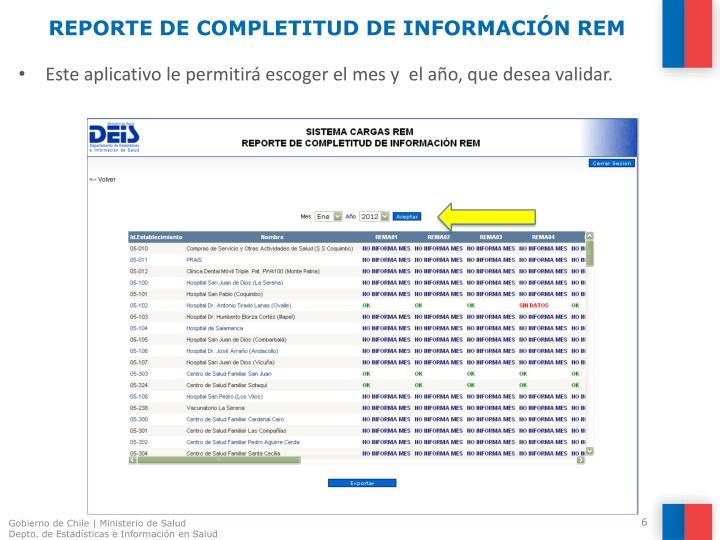 REPORTE DE COMPLETITUD DE INFORMACIÓN REM
