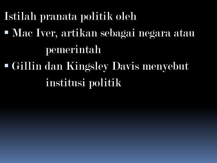 Istilah pranata politik oleh