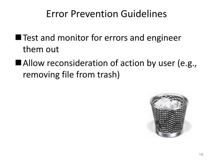 Error Prevention Guidelines