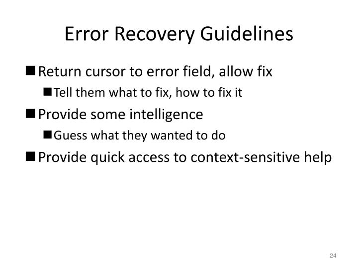 Error Recovery Guidelines