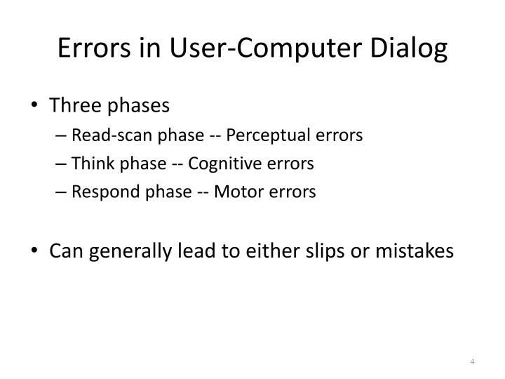 Errors in User-Computer Dialog