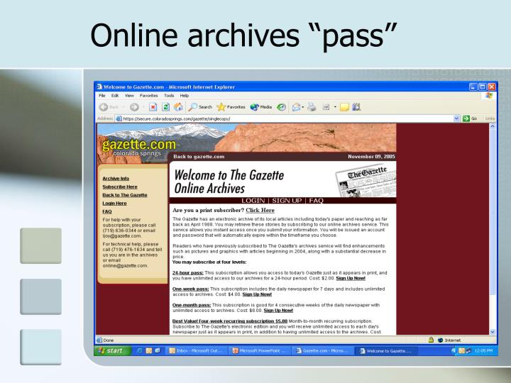 "Online archives ""pass"""