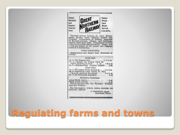 Regulating farms and towns