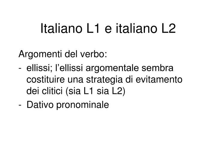 Italiano L1 e italiano L2
