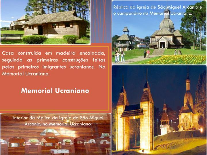 Réplica da igreja de São Miguel Arcanjo e o campanário no Memorial Ucraniano.