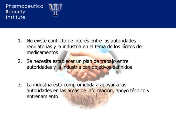 No existe conflicto de interés entre las autoridades   regulatorias y la industria en el tema de los ilícitos de medicamentos