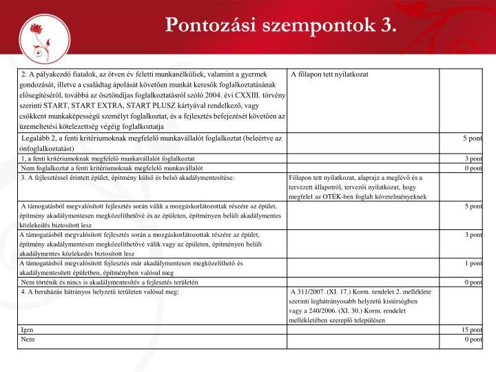 Pontozási szempontok 3.