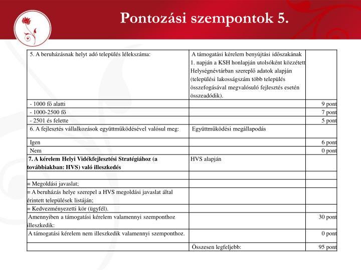Pontozási szempontok 5.