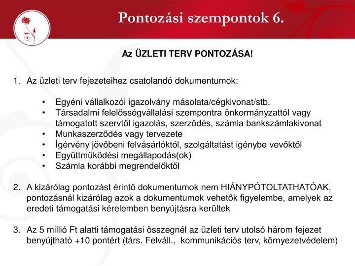 Pontozási szempontok 6.