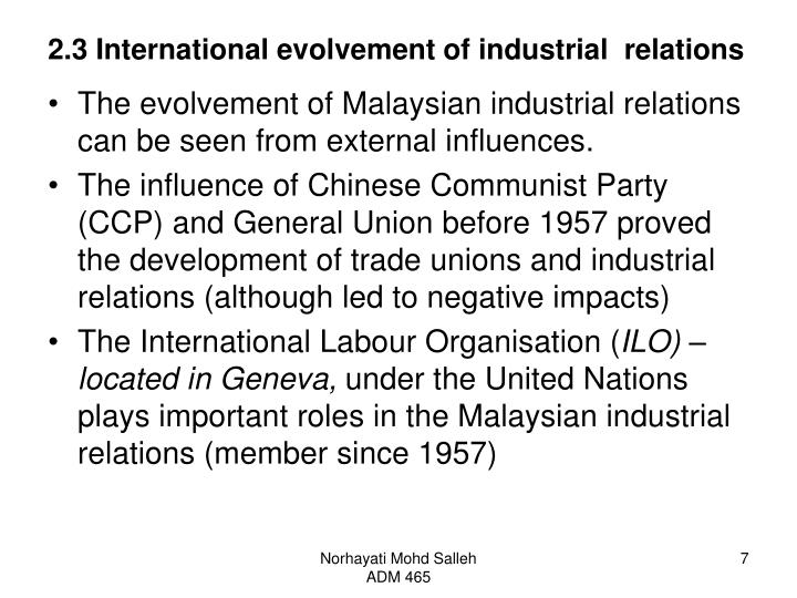 2.3 International evolvement of industrial  relations
