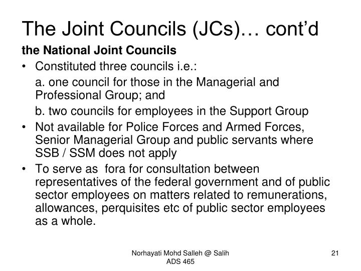 The Joint Councils (JCs)… cont'd