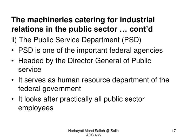 The machineries catering for industrial relations in the public sector … cont'd