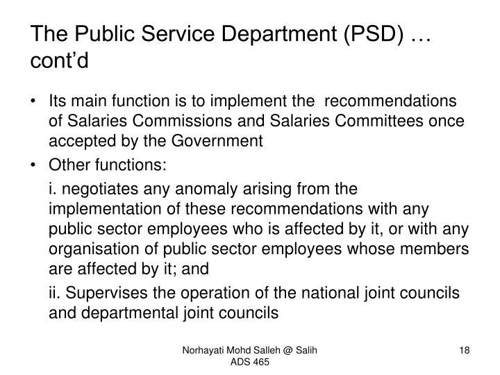 The Public Service Department (PSD) … cont'd