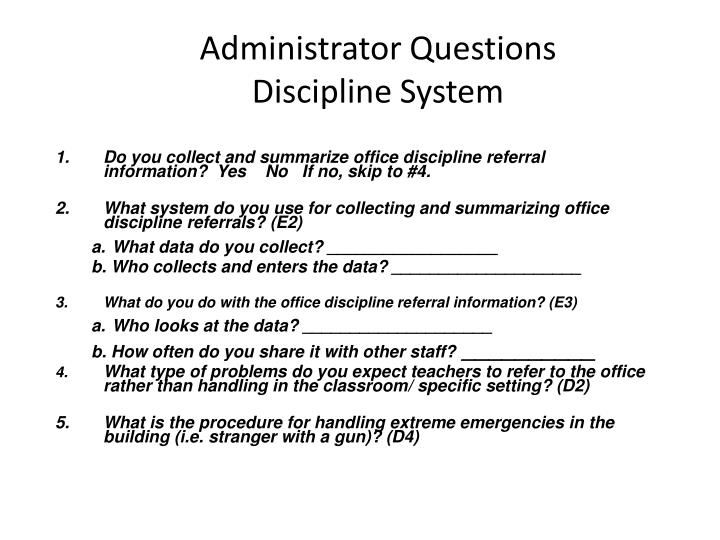Administrator Questions