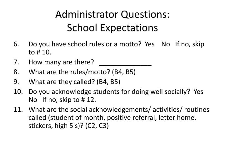 Administrator Questions: