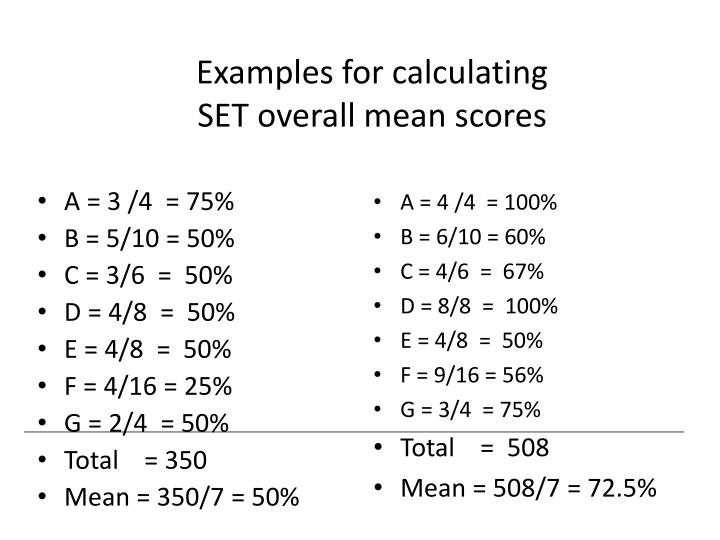 Examples for calculating