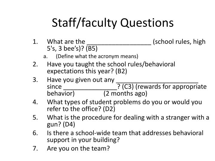 Staff/faculty Questions