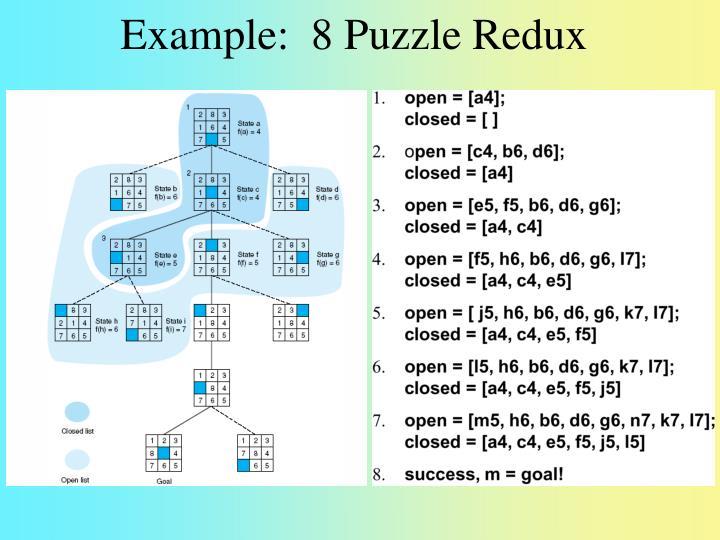 Example:  8 Puzzle Redux