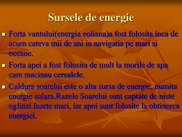 Sursele de energie