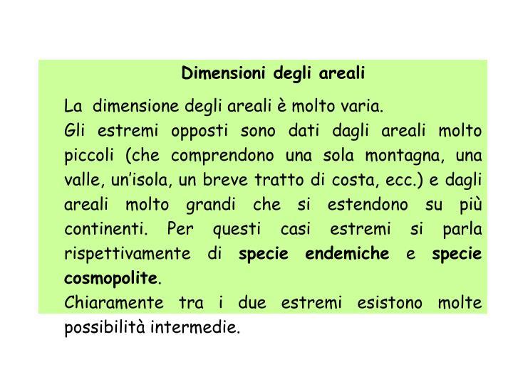 Dimensioni degli areali