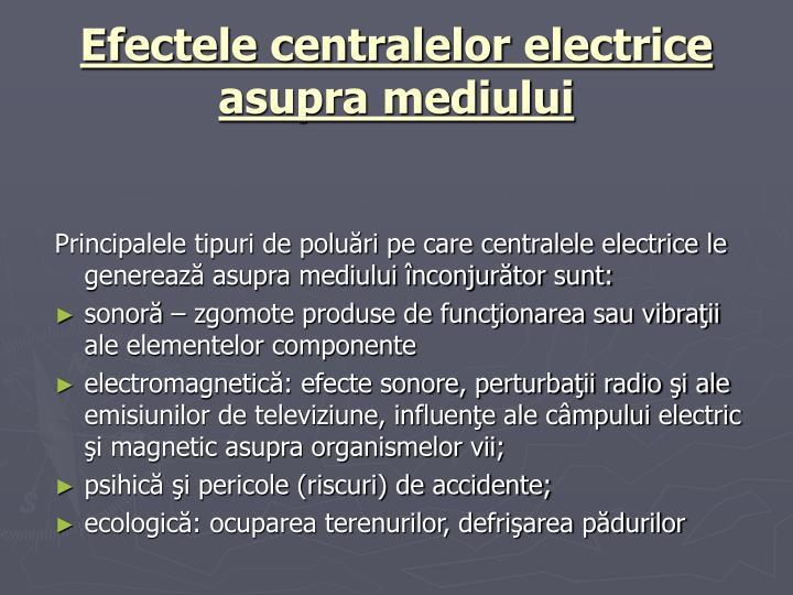 Efectele centralelor electrice asupra mediului