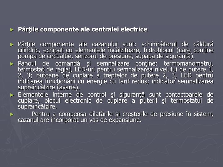 Părţile componente ale centralei electrice