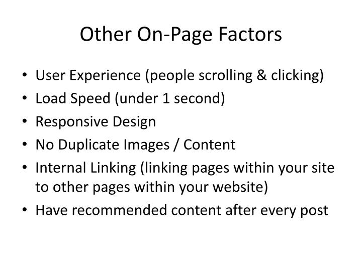 Other On-Page Factors