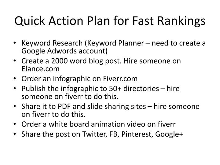 Quick Action Plan for Fast Rankings