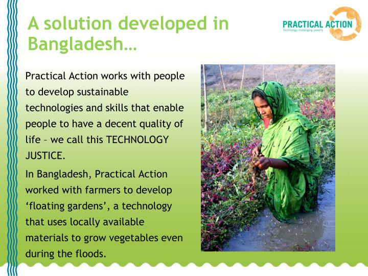 A solution developed in Bangladesh…