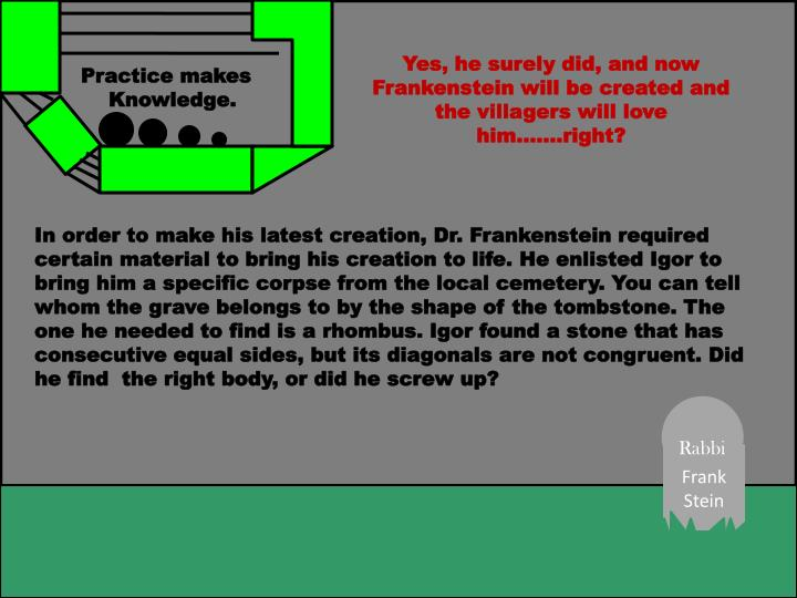 Yes, he surely did, and now Frankenstein will be created and the villagers will love him…….right?