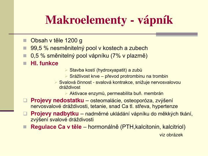Makroelementy - vápník