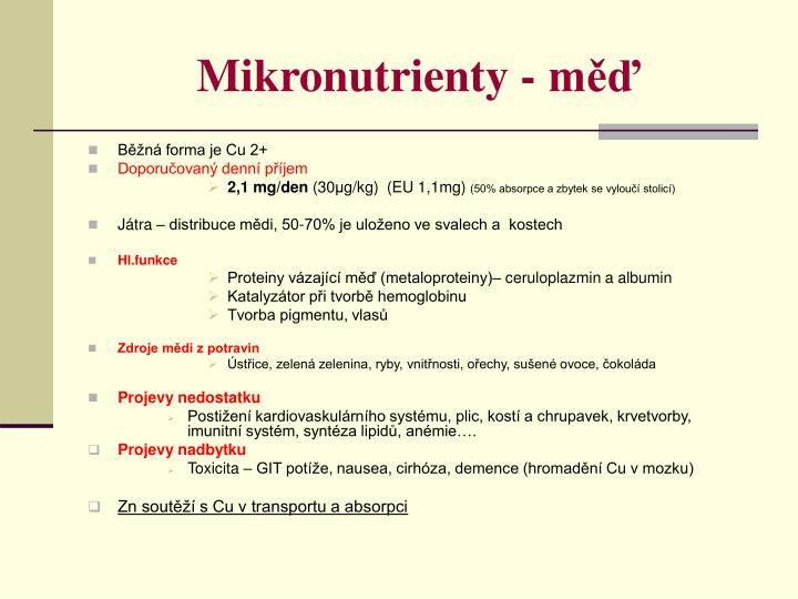 Mikronutrienty - měď