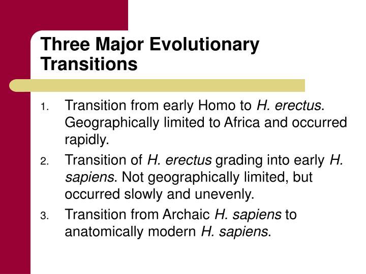 Three Major Evolutionary Transitions