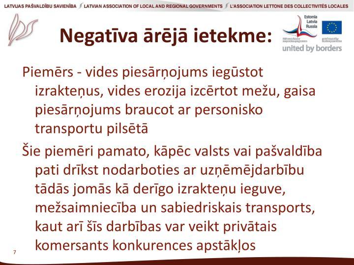 Negatīva ārējā ietekme: