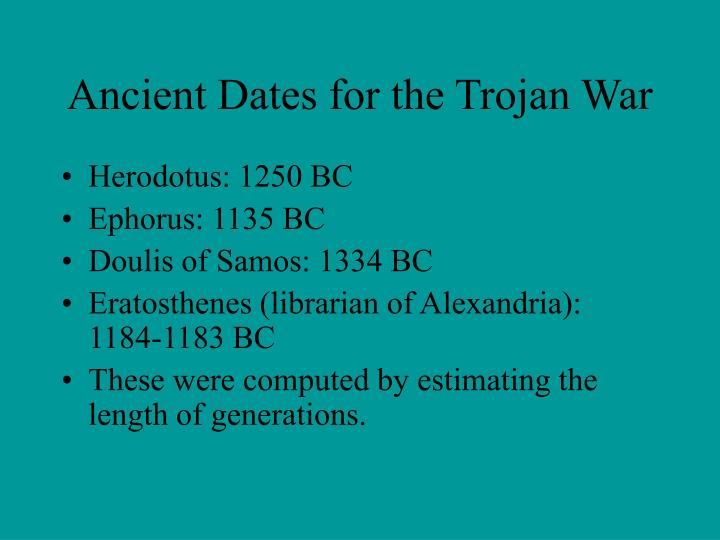 Ancient Dates for the Trojan War