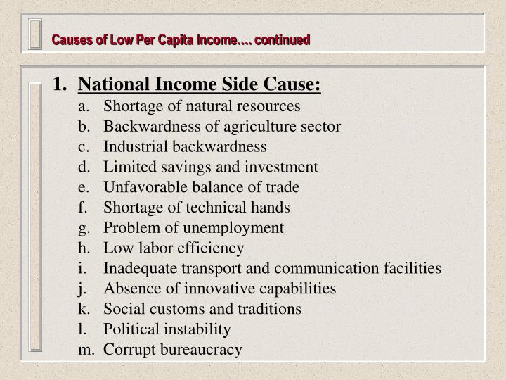 Causes of Low Per Capita Income…. continued