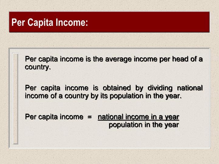 Per Capita Income: