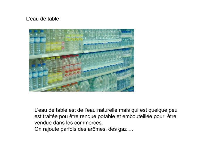 L'eau de table