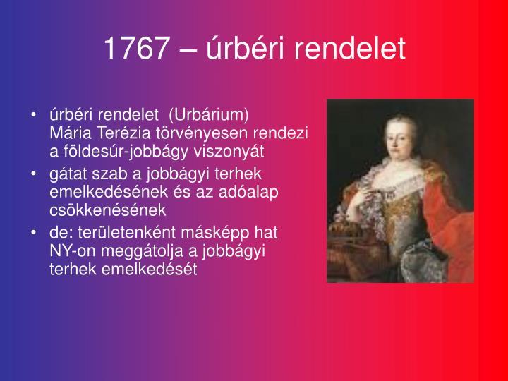 1767 – úrbéri rendelet