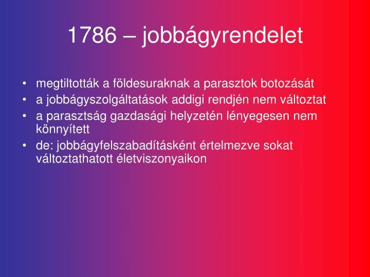 1786 – jobbágyrendelet