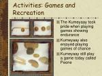 activities games and recreation