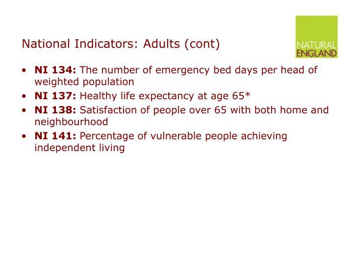 National Indicators: Adults (cont)