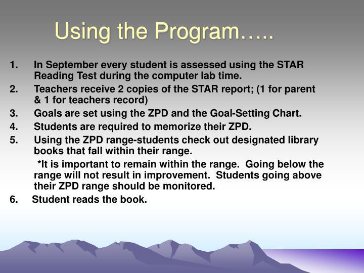 Using the Program…..